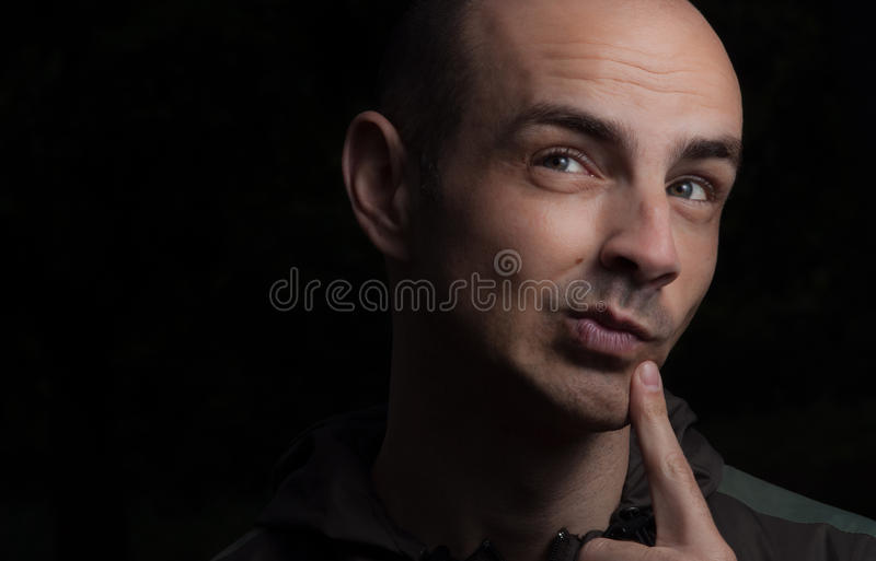 Curious face man portrait royalty free stock photography