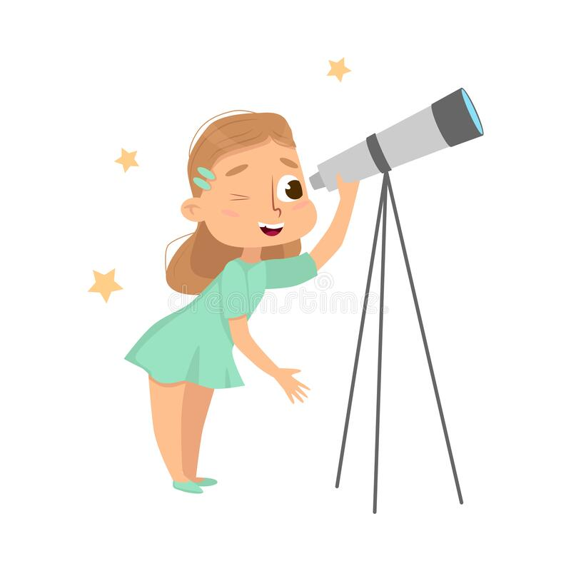 Free Curious Girl Looking In Telescope Studying Stars Vector Illustration Royalty Free Stock Image - 198396176