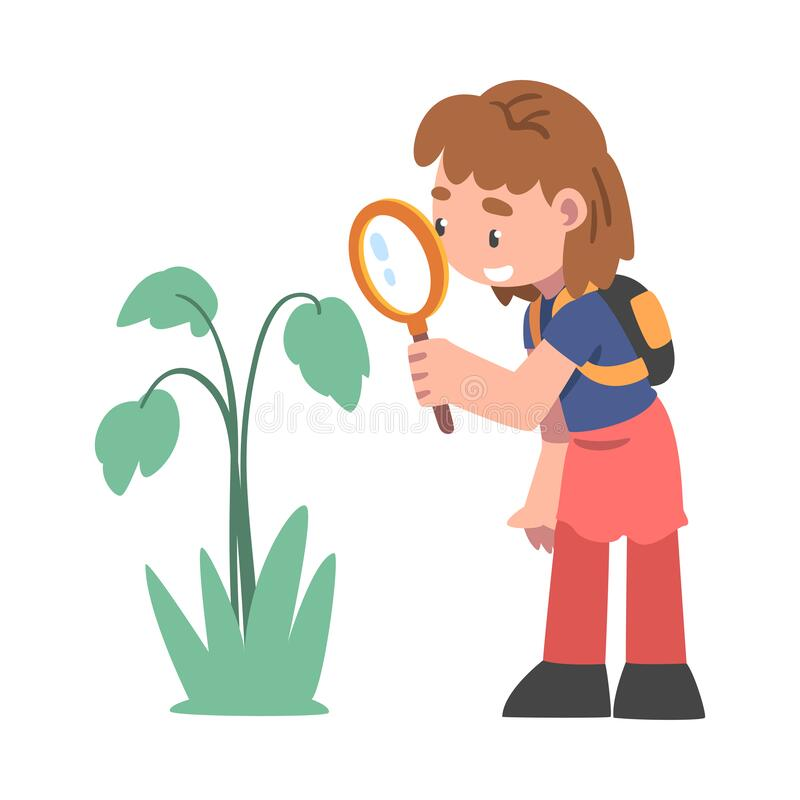 Free Curious Girl With Magnifying Glass Studying Plant And Exploring Environment Vector Illustration Stock Photo - 218456530