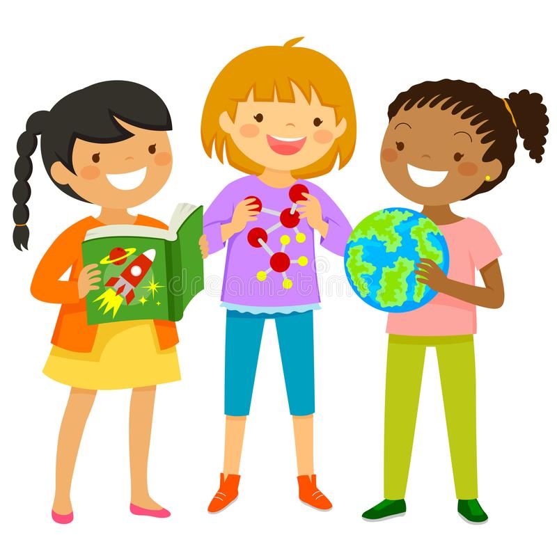 Curious girls learning about science. Curious girls learning about scientific subjects through books and other items royalty free illustration
