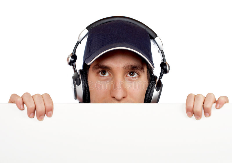 Curious handsome disc jockey royalty free stock image