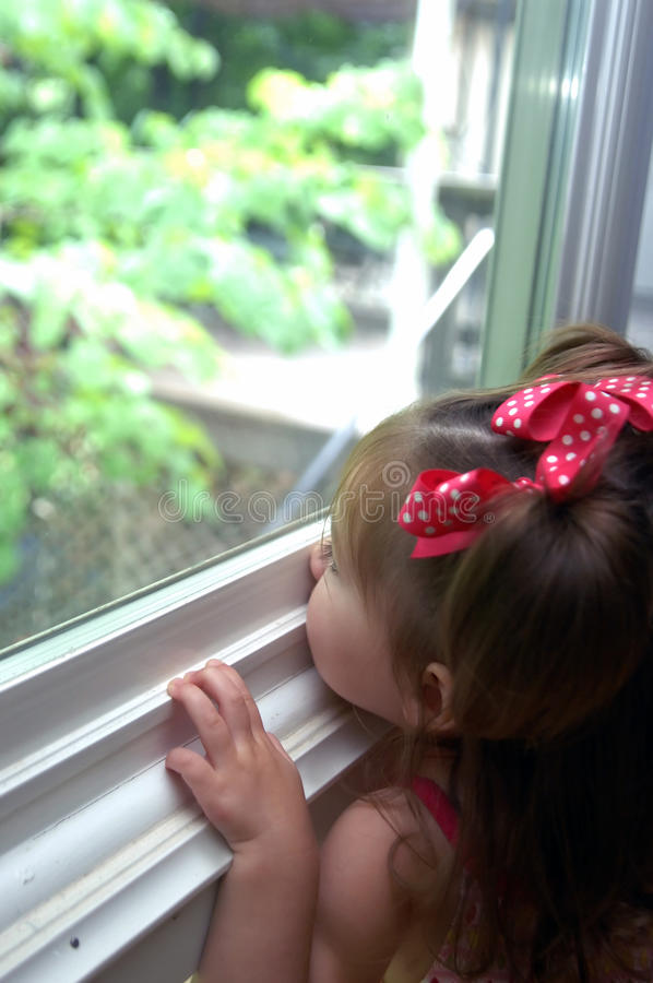 Curious about her world. Toddler stretches to look outside her window. Her nose is pressed against the window seal and her mind is busy absorbing the world stock photos