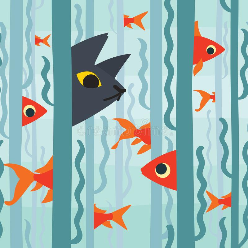 Curious kitty watching aquarium fish swimming among seaweed. Conceptual artwork. Vector illustration of kitty hunting. Fish in flat style. Element for your stock illustration