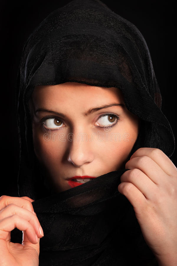 Download Curious muslim girl stock image. Image of burka, face - 23965217