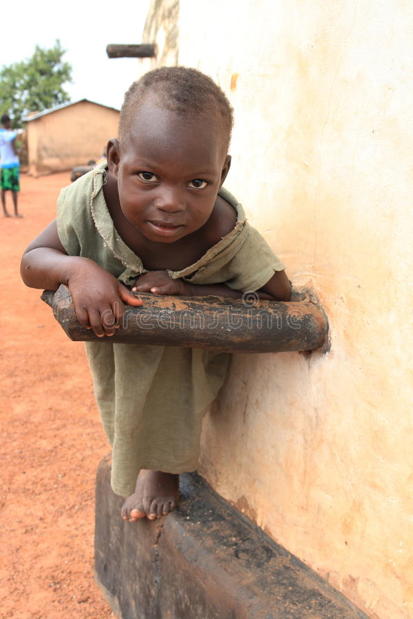 Curious muslim kid from Ghana, Africa royalty free stock photos