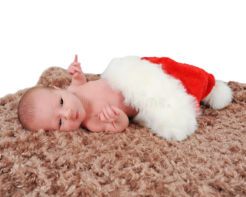 Download Curious Newborn Laying In Santa Hat On Blanket Stock Image - Image of newborn, arms: 22605709