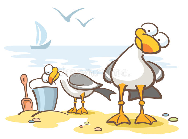Download Curious seagulls stock vector. Image of side, travel - 13701763