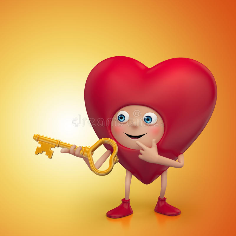 Curious Valentine heart cartoon holding key royalty free illustration