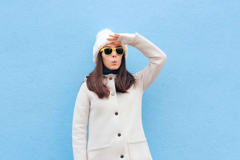 Curious Woman With Sunglasses Searching for Something royalty free stock images
