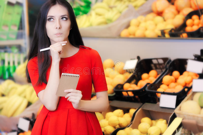 Curious Woman in The Supermarket with Hopping List stock images