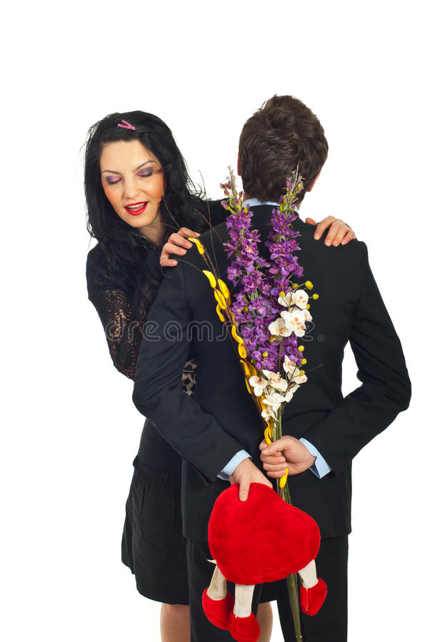 Curious Woman About Valentine Gift Stock Photography