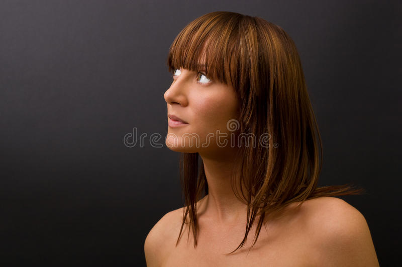 Curious young female stock image