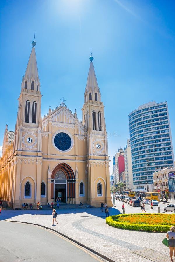 CURITIBA, BRASIL - 12 DE MAIO DE 2016: o romano - arquidiocese católica situada na capital do curitiba do estado brasileiro de pa imagens de stock royalty free
