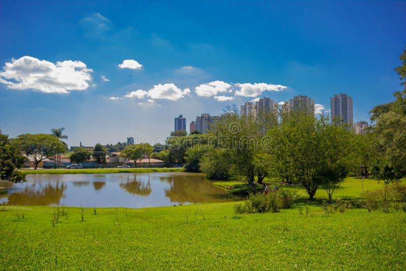 CURITIBA BRASILIEN - MAJ 12, 2016: den trevliga horisontsikten av staden från det botaniskt parkerar, den lilla sjön inom parkera royaltyfria foton