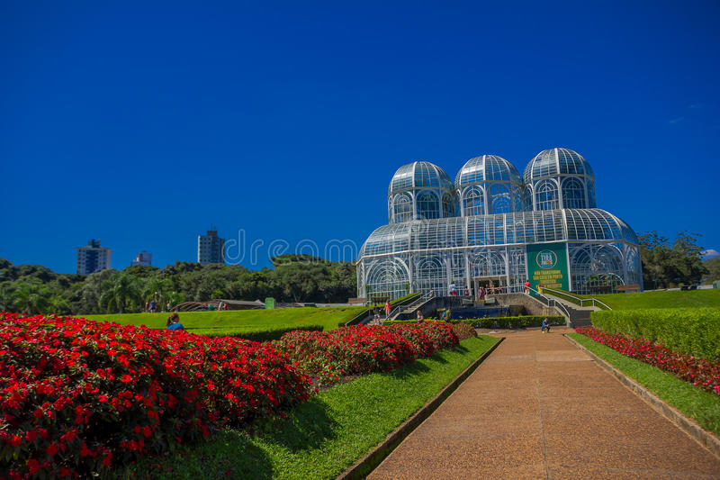 CURITIBA ,BRAZIL - MAY 12, 2016: the botanical garden in curitiba also known as jardim botanico fanchette rischbitter is. The main tourist attraction of the royalty free stock photo