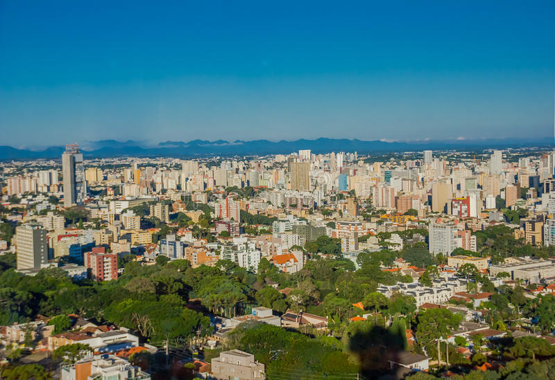 CURITIBA ,BRAZIL - MAY 12, 2016: nice view of the city from the german forest opened on 1996 in curitiba the capital of the brazil. Ian state of parana stock image