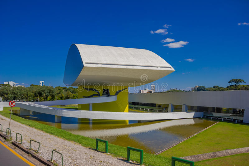 CURITIBA ,BRAZIL - MAY 12, 2016: the oscar niemeyer museum focused in architecture, design and visual arts royalty free stock photos