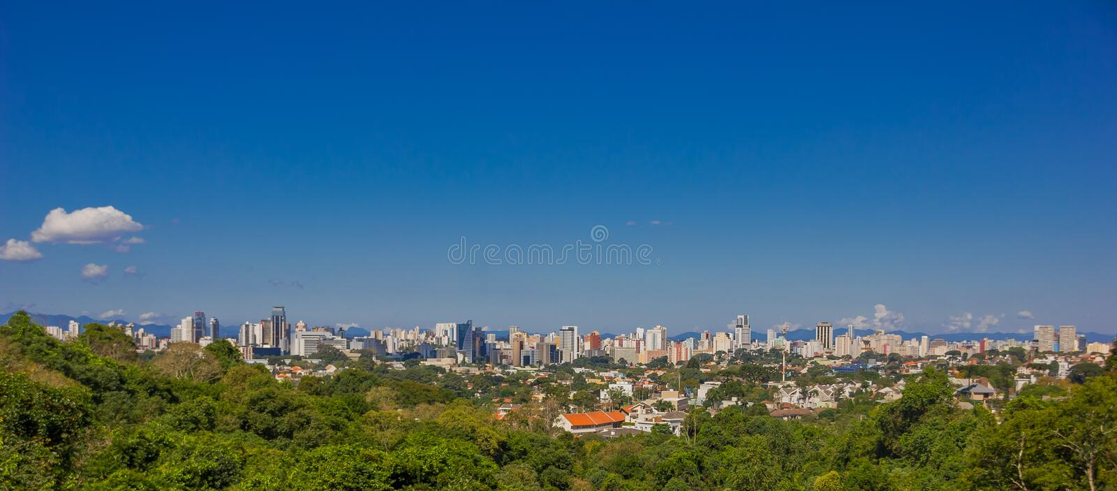 CURITIBA ,BRAZIL - MAY 12, 2016: panoramic view of the city from a city park located in vista alegre neighborhood stock photos