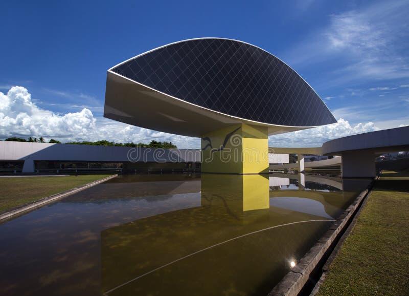 Curitiba, Brazilië - Juli, 2017: Oscar Niemeyer Museum, of MON, binnen stock foto's