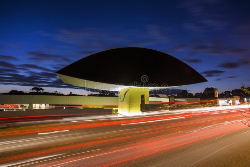 Curitiba, Brazilië - Juli, 2017: Oscar Niemeyer Museum, of MON, in Curitiba, de Staat van Parana, Brazilië stock afbeeldingen