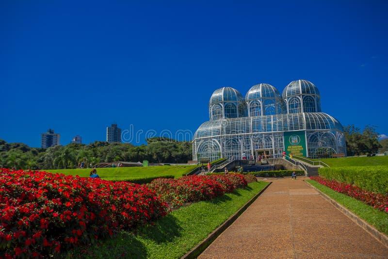 CURITIBA, BRAZILIË - MEI 12, 2016: de botanische die tuin in curitiba ook als fanchette van jardimbotanico rischbitter wordt beke royalty-vrije stock foto