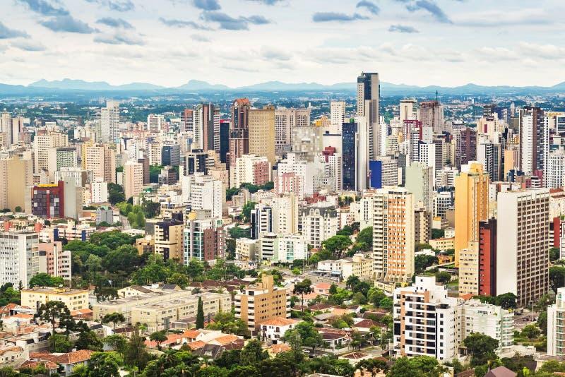 Curitiba Cityscape, Parana, Brasilien royaltyfri fotografi