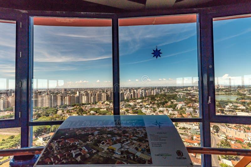 CURITIBA, PARANA/BRAZIL - 27-ОЕ ДЕКАБРЯ 2016: Взгляд от башни ` s Curitiba панорамной стоковые фотографии rf