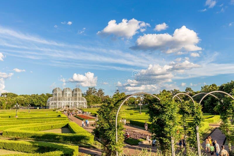 CURITIBA, PARANA/BRAZIL - 26 DE DEZEMBRO DE 2016: Jardim botânico em um dia ensolarado imagem de stock royalty free
