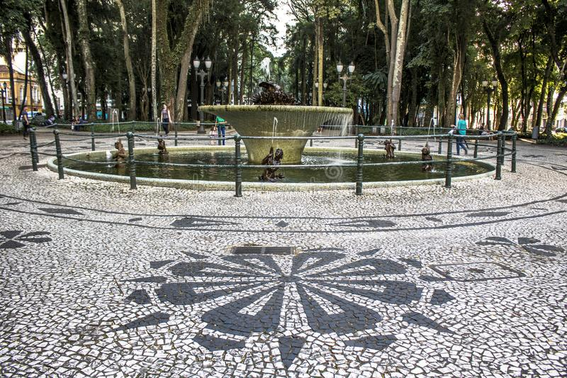 Mosaic made with portuguese stones in the pavement of General Osório square royalty free stock photography