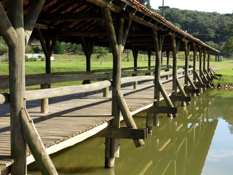 Curitiba Park jeziora most zdjęcia royalty free