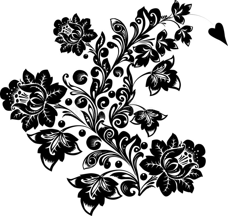 Download Curl With Big Black Flowers Stock Illustration - Image: 8034047