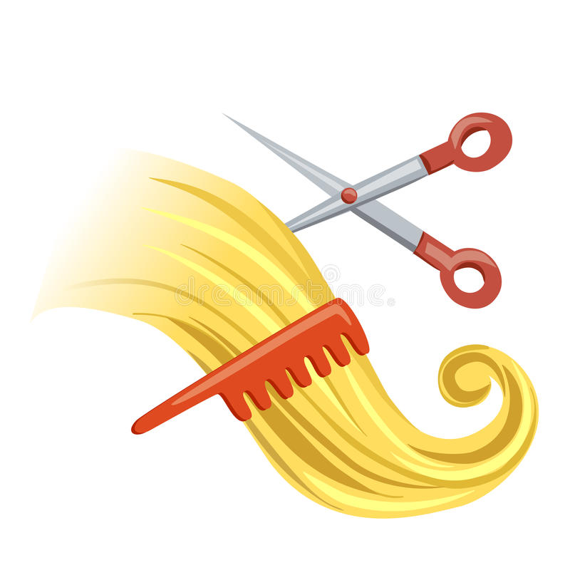 Curl with hairbrush and scissors. Vector illustration royalty free illustration