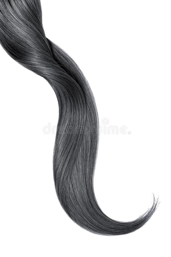 Curl of natural black hair, isolated on white background stock photos