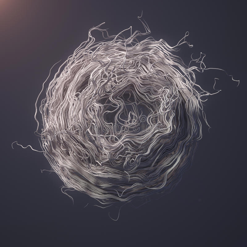Curl noise flow abstract white lines 3d rendering royalty free stock images