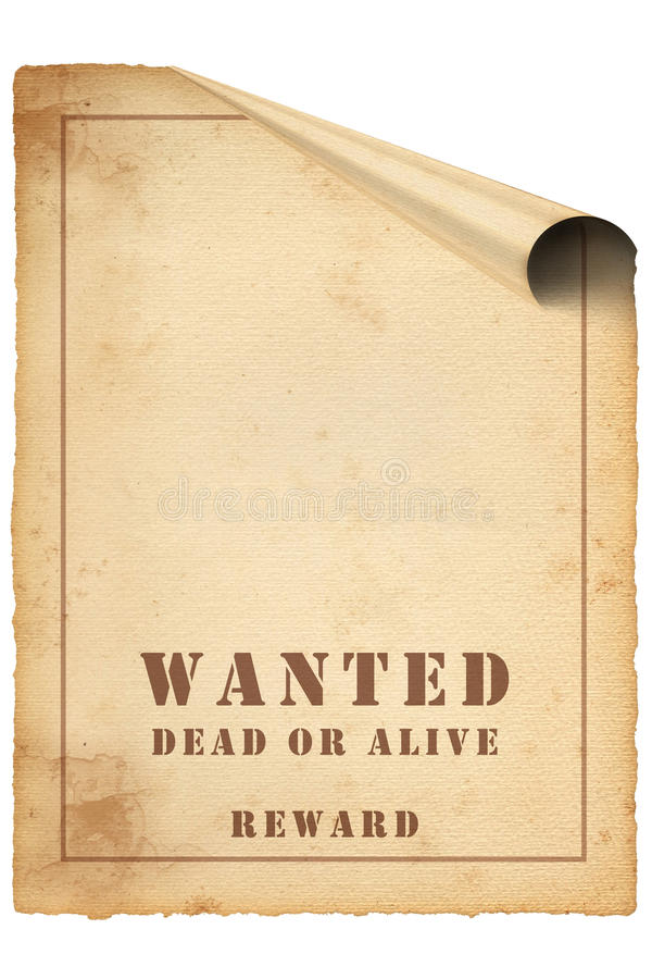 Curl wanted Poster on old paper stock image