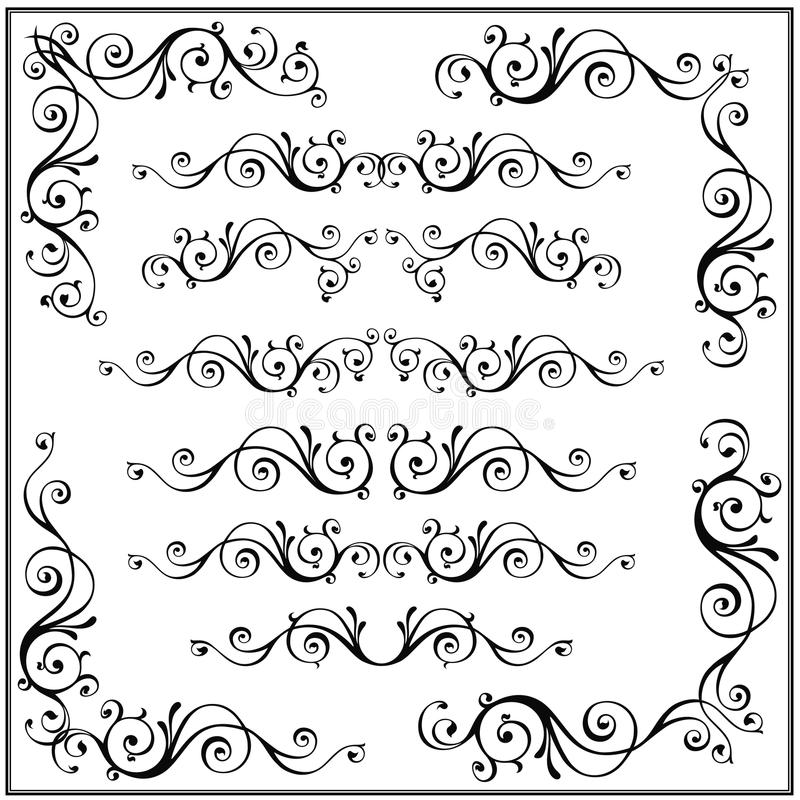 Curled calligraphic design frame corner elements. Vector set isolated on white. vector illustration