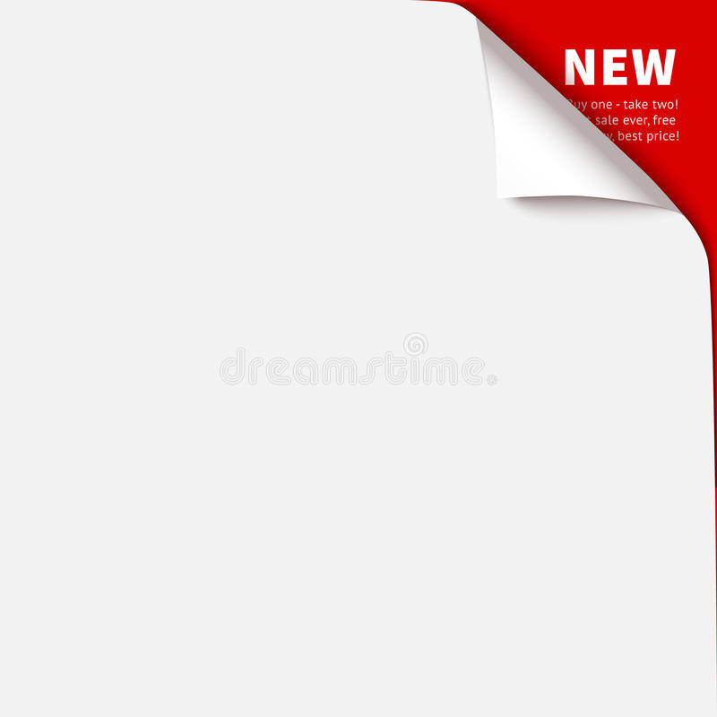 Curled corner vector illustration, isolated paper curl. Top corner flip over on red background royalty free illustration