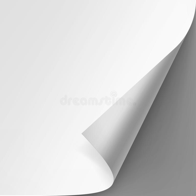 Curled corner of White paper on Gray Background. Vector Curled corner of White paper with shadow Mock up Close up on Gray Background royalty free illustration