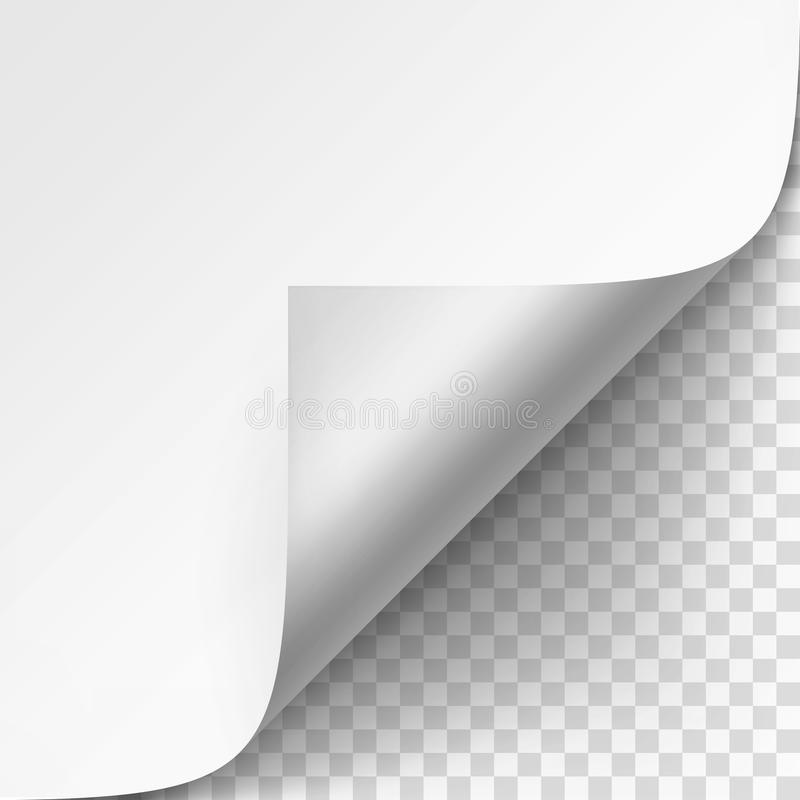 Curled corner of White paper with shadow Mock up Close up on Transparent Background. Vector Curled corner of White paper with shadow Mock up Close up on royalty free illustration