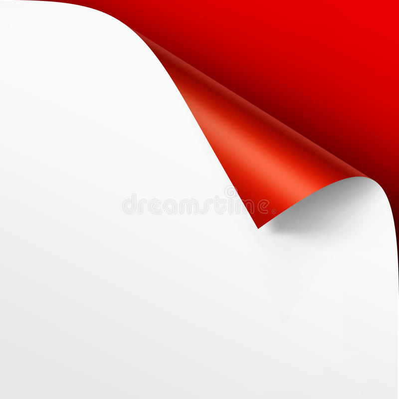 Curled corner of White paper with shadow. Vector Curled corner of White paper with shadow Mock up Close up on Bright Red Scarlet Background royalty free illustration