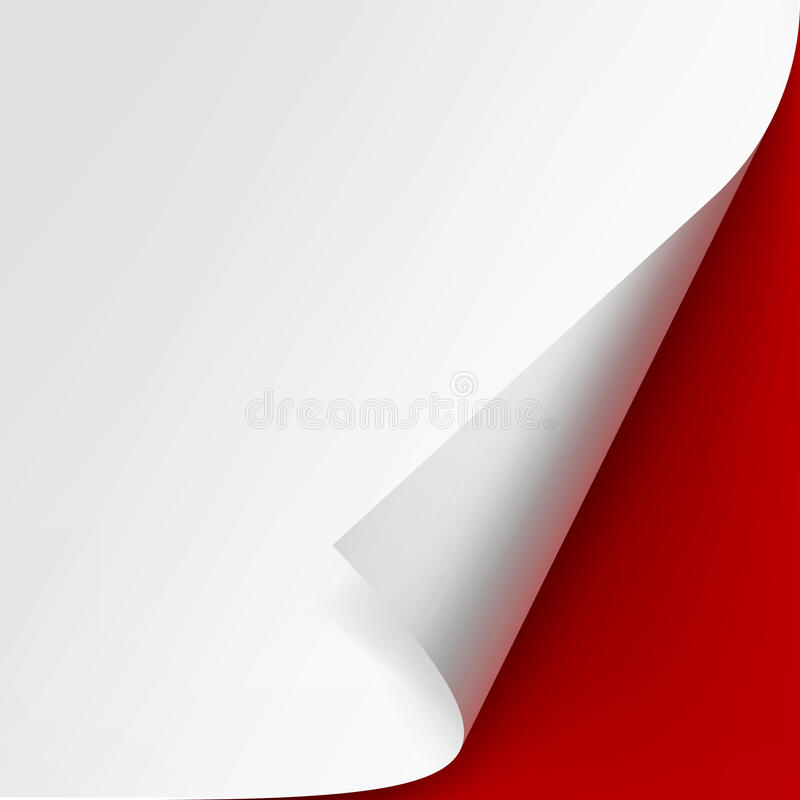 Curled corner of White paper with shadow. Vector Curled corner of White paper with shadow Mock up Close up on Red Background stock illustration
