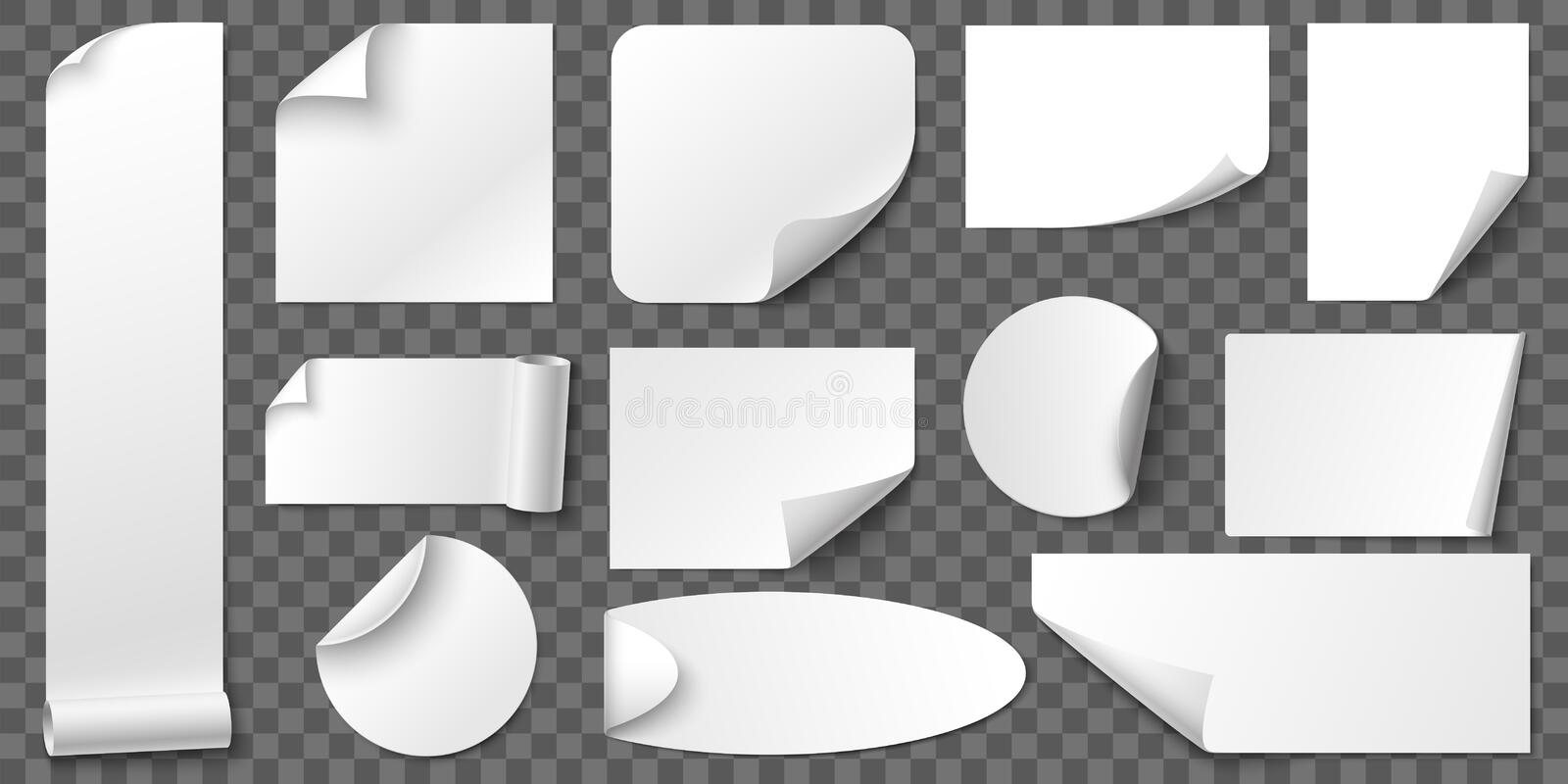 Curled corners paper stickers. Adhesive sticker, blank tag labels and label with realistic shadow vector set. Curled corners paper stickers. Adhesive sticker stock illustration