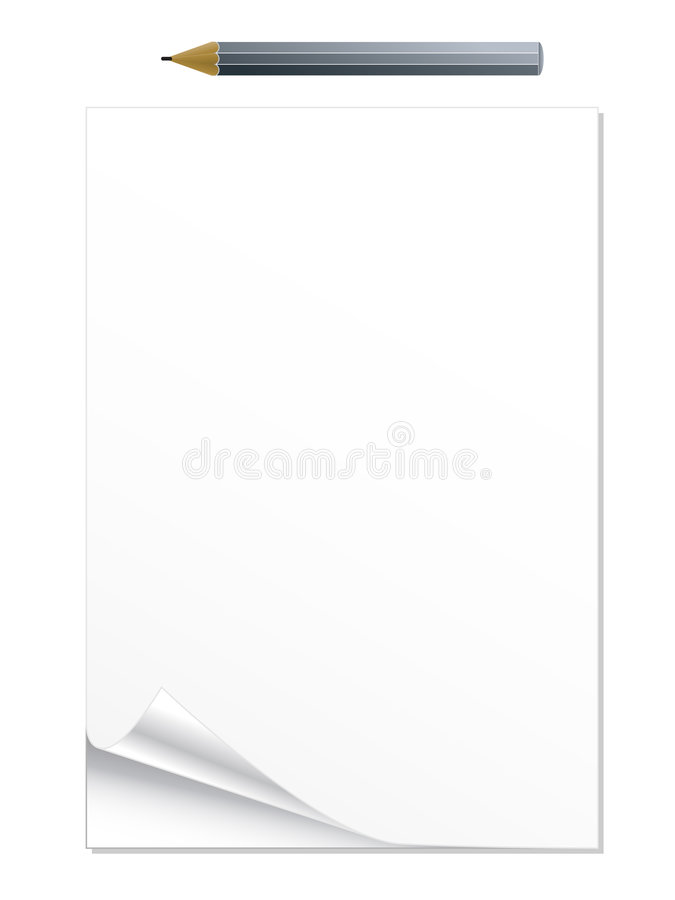 Download Curled notepad with pencil stock vector. Image of communication - 5294400