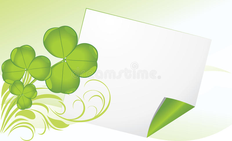 Curled page with clover. Festive banner stock photography