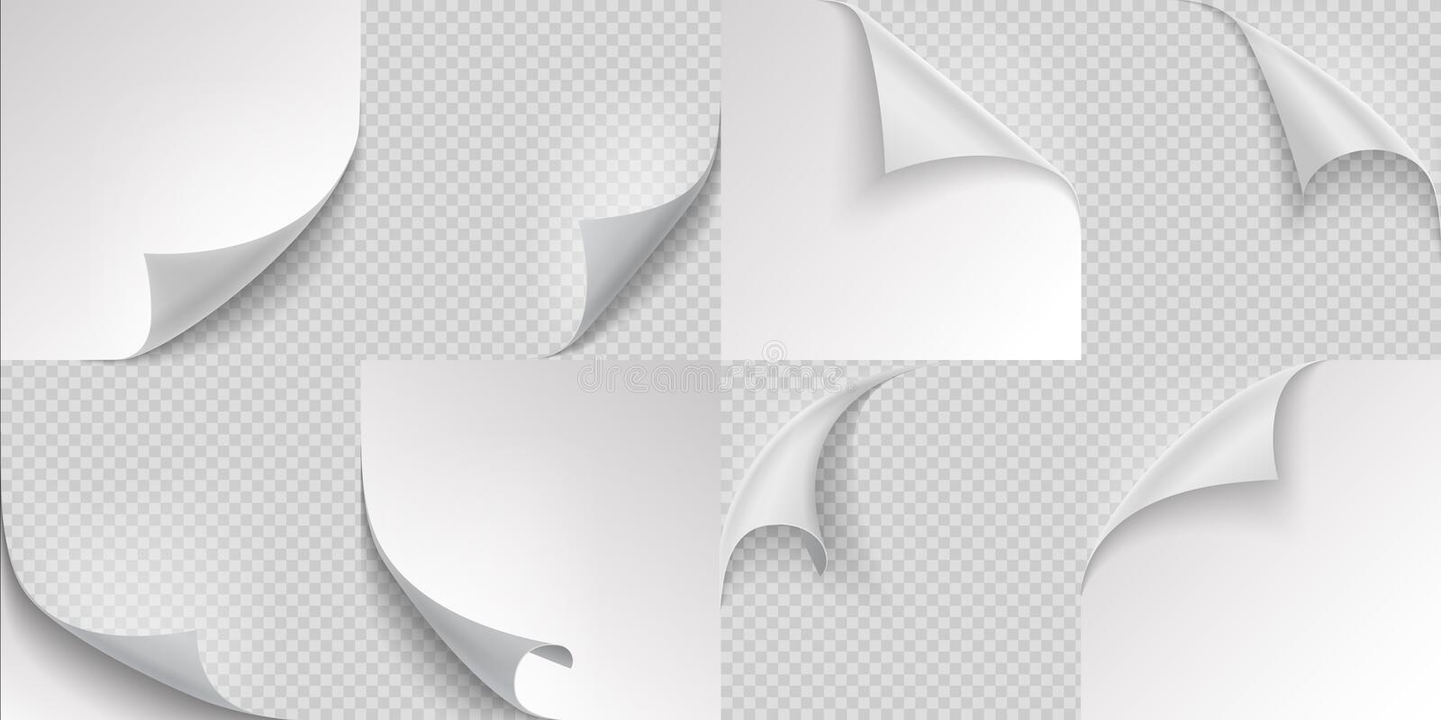 Curled page corners. Flipped and turning paper page set on transparent background. Vector folded or turn-up book page. Curled page corners. Flipped and turning vector illustration