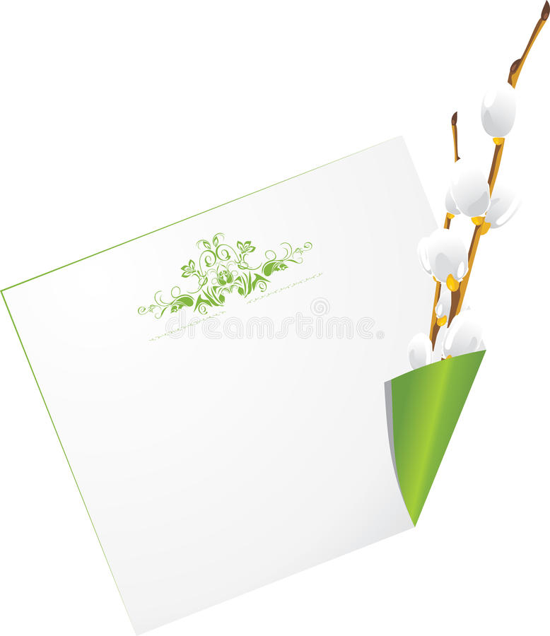 Curled Page With Willow Branch Stock Images