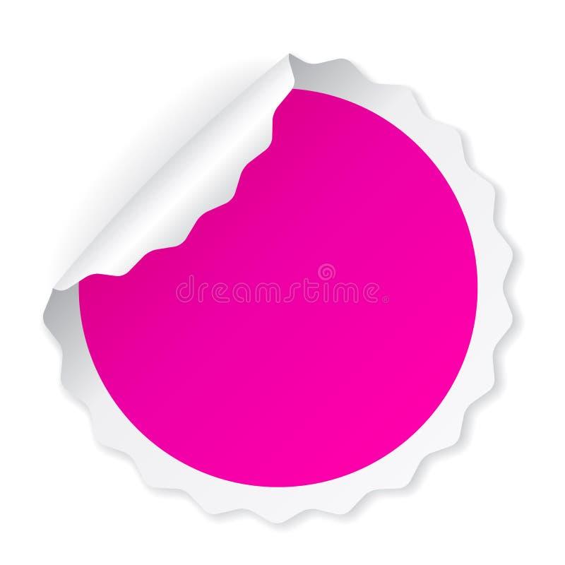 Curled round pink sticker vector illustration
