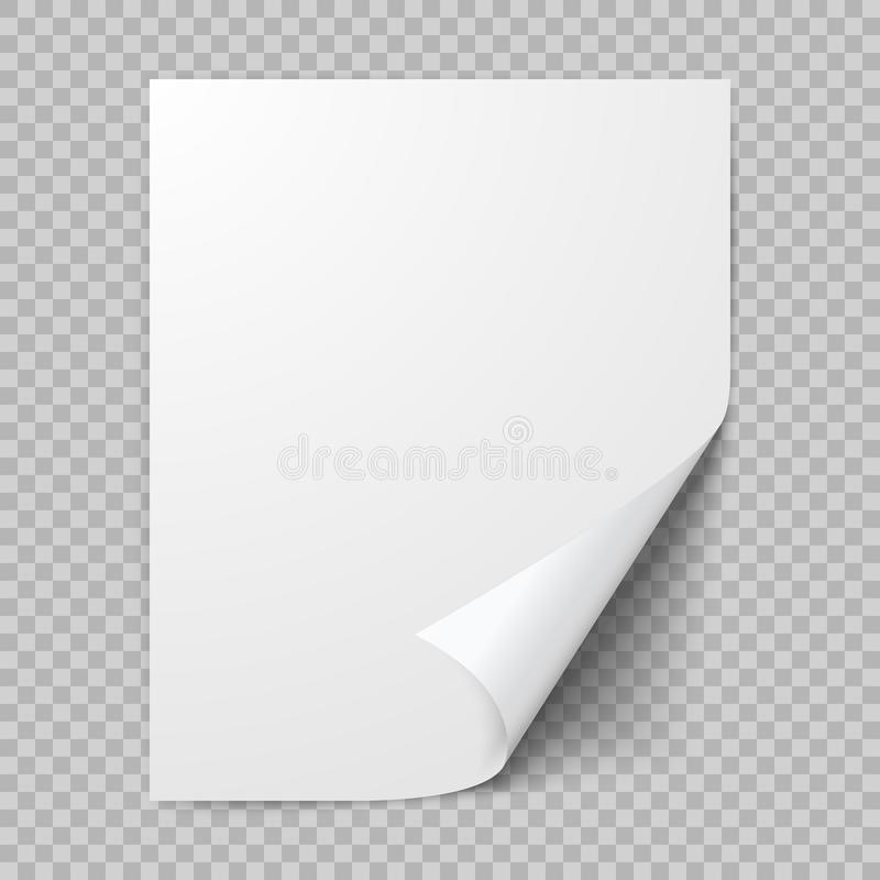 Curled sheet of paper. Empty blank of paper with twisted corner. Vector illustration isolated on transparent background royalty free illustration