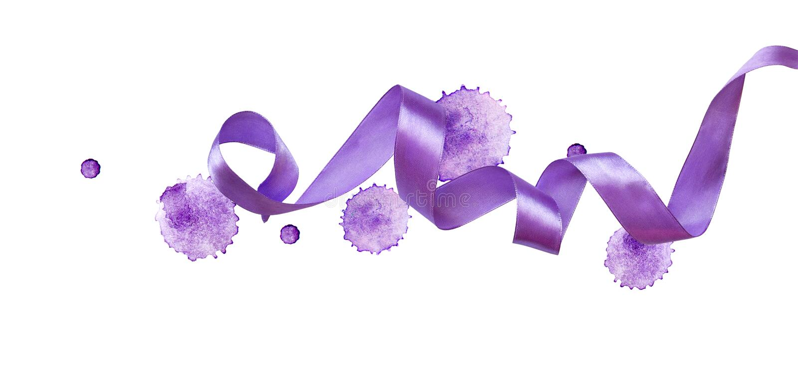 Curled violet silk ribbon watercolor blots. Isolated on white background. Color of the year royalty free stock photography