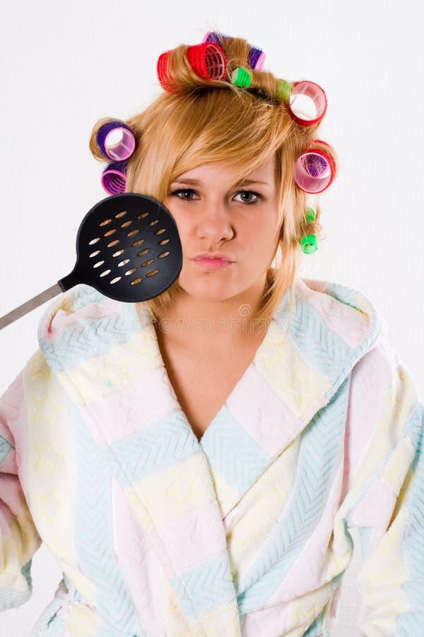 curlers śmieszny gospodyni domowej skimmer zdjęcia stock